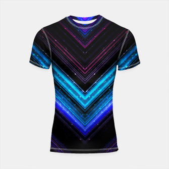 Sparkly metallic blue and purple galaxy lines Shortsleeve Rashguard thumbnail image