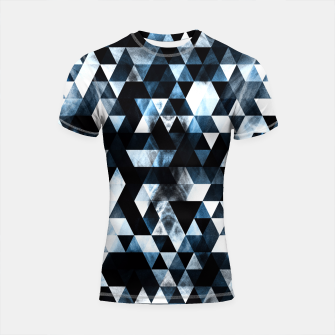 Thumbnail image of Triangle Geometric Vibrant Blue Smoky Galaxy Shortsleeve Rashguard, Live Heroes