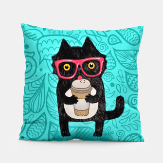Coffee kitty cat Pillow obraz miniatury