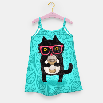 Coffee kitty cat Girl's Dress obraz miniatury