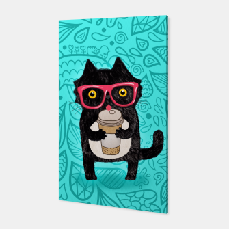 Coffee kitty cat Canvas obraz miniatury