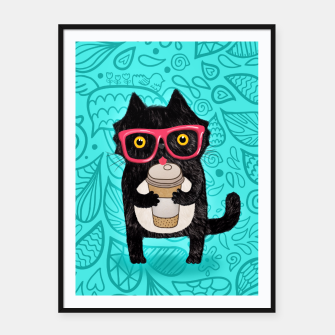 Coffee kitty cat Framed poster obraz miniatury