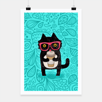 Coffee kitty cat Poster obraz miniatury