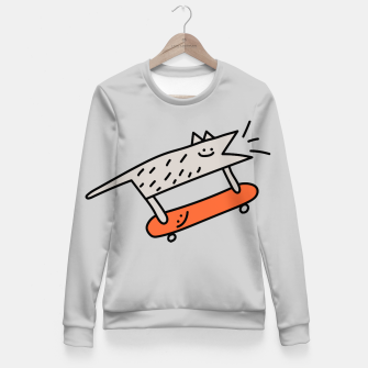 Thumbnail image of Hot Beans the Dog - Skateboarding Fitted Waist Sweater, Live Heroes