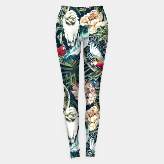 Thumbnail image of Dark pattern boho skull tropical Leggings, Live Heroes