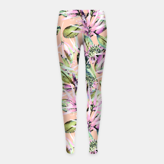 Thumbnail image of Abstract of exotic nature pink I Leggings para niña, Live Heroes