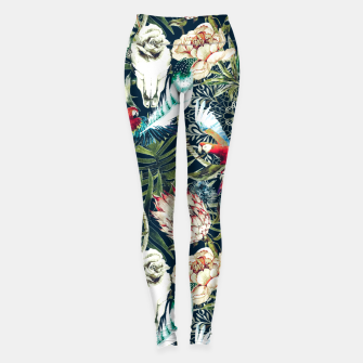 Miniaturka Dark pattern boho skull tropical Leggings, Live Heroes