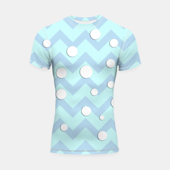 Thumbnail image of Simple light blue and white Chevron pattern with Snow Circles Shortsleeve Rashguard, Live Heroes