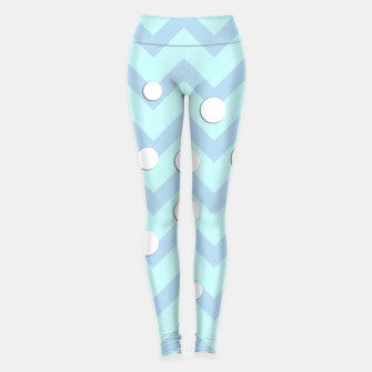 Thumbnail image of Simple light blue and white Chevron pattern with Snow Circles Leggings, Live Heroes