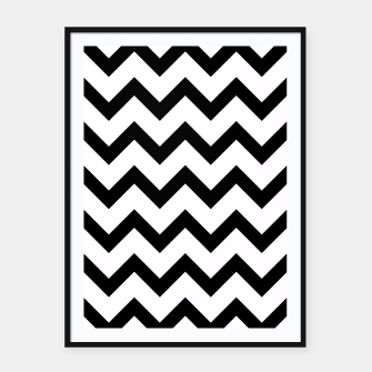 Thumbnail image of Simple Black and white Chevron pattern Framed poster, Live Heroes