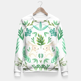 Miniatur Woodland Rabbits Fitted Waist Sweater, Live Heroes