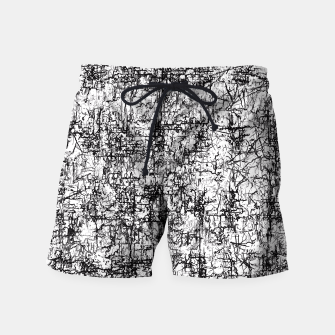 Miniatur psychedelic abstract art texture in black and white Swim Shorts, Live Heroes