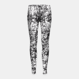 Miniatur psychedelic abstract art texture in black and white Girl's Leggings, Live Heroes