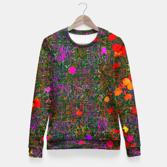 Thumbnail image of psychedelic abstract art texture background in purple red orange pink Fitted Waist Sweater, Live Heroes