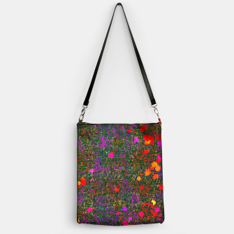 Miniatur psychedelic abstract art texture background in purple red orange pink Handbag, Live Heroes