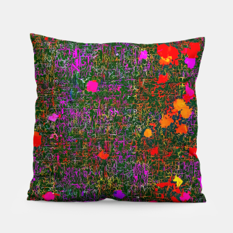 Miniatur psychedelic abstract art texture background in purple red orange pink Pillow, Live Heroes