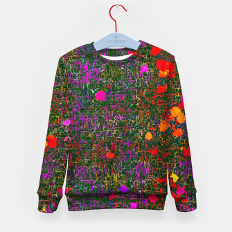 Miniatur psychedelic abstract art texture background in purple red orange pink Kid's Sweater, Live Heroes
