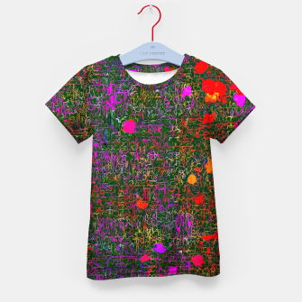 Miniatur psychedelic abstract art texture background in purple red orange pink Kid's T-shirt, Live Heroes