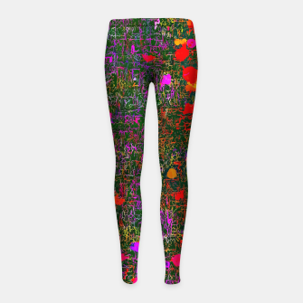 Miniatur psychedelic abstract art texture background in purple red orange pink Girl's Leggings, Live Heroes