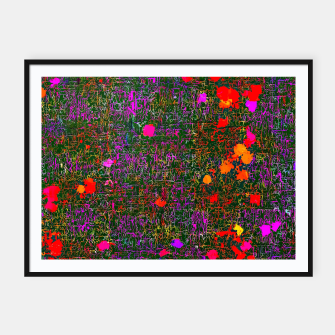 Miniatur psychedelic abstract art texture background in purple red orange pink Framed poster, Live Heroes