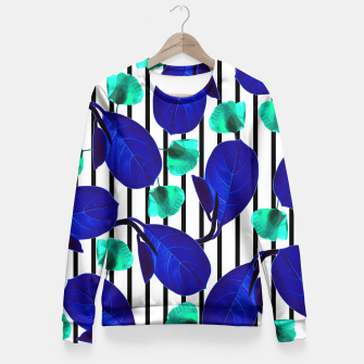 Miniatur Blue Leaves + Aqua Poppies Fitted Waist Sweater, Live Heroes