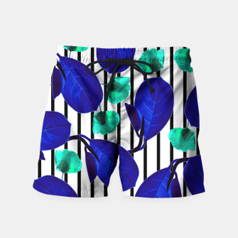 Miniatur Blue Leaves + Aqua Poppies Swim Shorts, Live Heroes