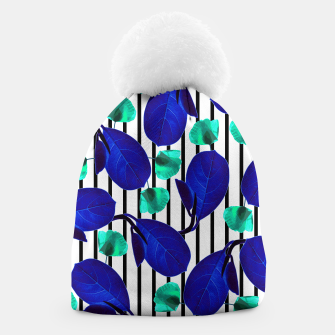 Miniatur Blue Leaves + Aqua Poppies Beanie, Live Heroes