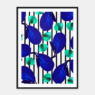 Miniatur Blue Leaves + Aqua Poppies Framed poster, Live Heroes
