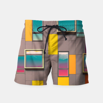 Miniatur Facade in front of the mountains Swim Shorts, Live Heroes