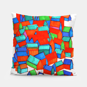 Miniatur Whole hillside of houses Pillow, Live Heroes