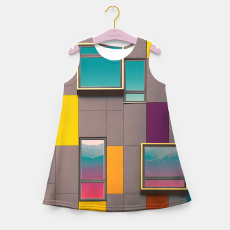 Miniatur Facade in front of the mountains Girl's Summer Dress, Live Heroes