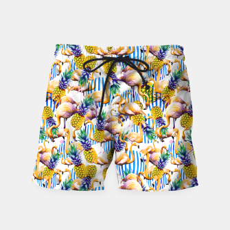 Imagen en miniatura de Flamenco tropical pattern and pineapple Pantalones de baño, Live Heroes