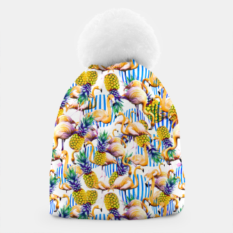 Flamenco tropical pattern and pineapple Gorro imagen en miniatura