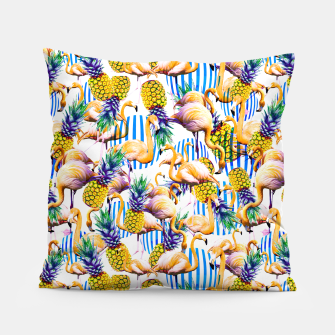 Flamenco tropical pattern and pineapple Almohada imagen en miniatura