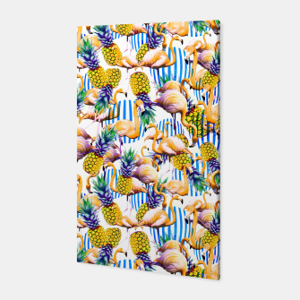 Flamenco tropical pattern and pineapple Canvas imagen en miniatura