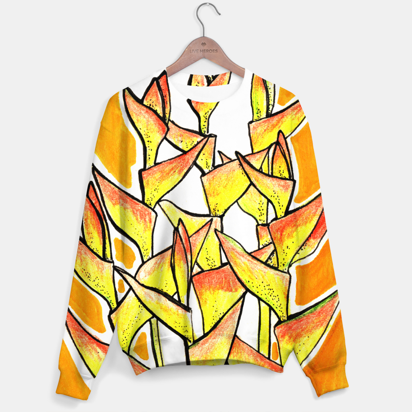 Image of Heliconia Rostrata / Lobster Claw, floral art, yellow & orange Sweater - Live Heroes