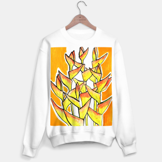 Heliconia Rostrata / Lobster Claw, floral art, yellow & orange Sweater regular thumbnail image