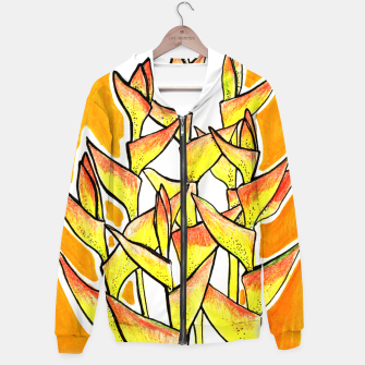 Heliconia Rostrata / Lobster Claw, floral art, yellow & orange Hoodie thumbnail image