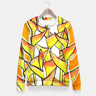 Thumbnail image of Heliconia Rostrata / Lobster Claw, floral art, yellow & orange Fitted Waist Sweater, Live Heroes