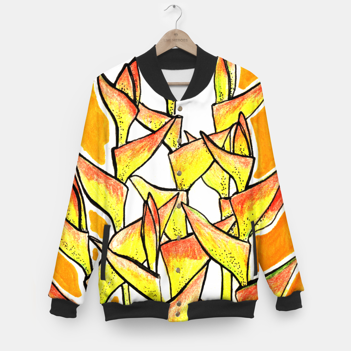 Image of Heliconia Rostrata / Lobster Claw, floral art, yellow & orange Baseball Jacket - Live Heroes