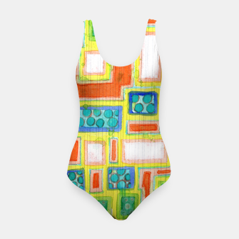 Thumbnail image of Structured Beautiful Bright Pattern with Vertical Pencil Lines  Swimsuit, Live Heroes