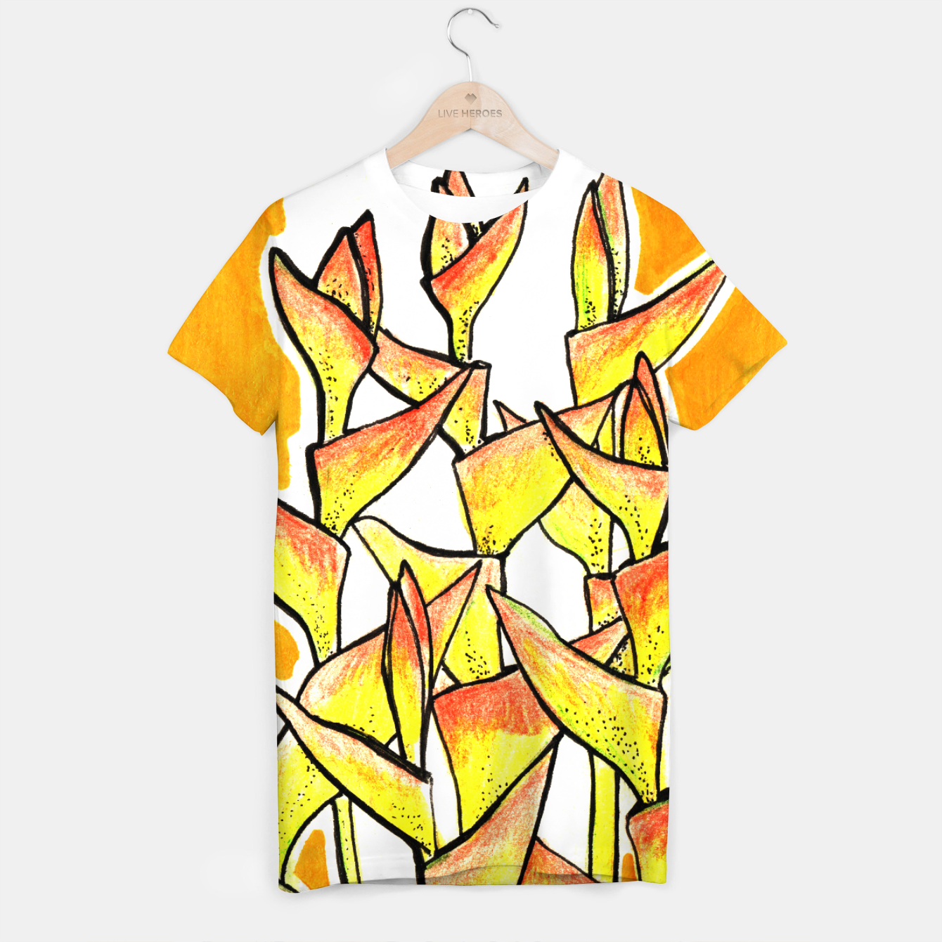 Image of Heliconia Rostrata / Lobster Claw, floral art, yellow & orange T-shirt - Live Heroes