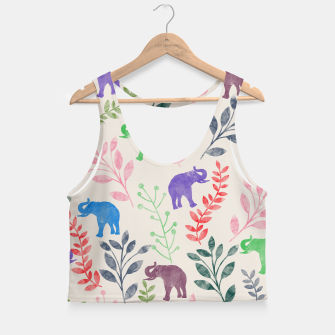 Miniature de image de Watercolor Flowers & Elephants Crop Top, Live Heroes