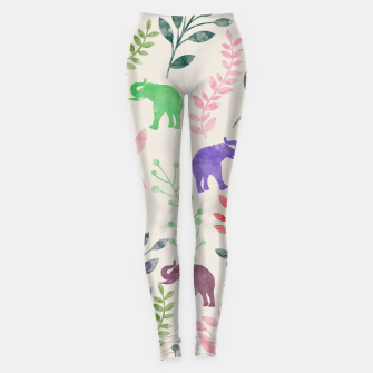 Imagen en miniatura de Watercolor Flowers & Elephants Leggings, Live Heroes