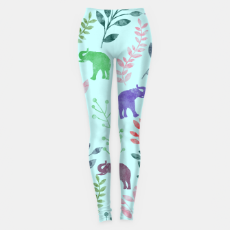 Imagen en miniatura de Watercolor Flowers & Elephants II Leggings, Live Heroes