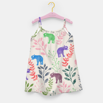 Miniature de image de Watercolor Flowers & Elephants Girl's Dress, Live Heroes