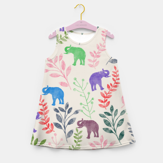 Miniature de image de Watercolor Flowers & Elephants Girl's Summer Dress, Live Heroes
