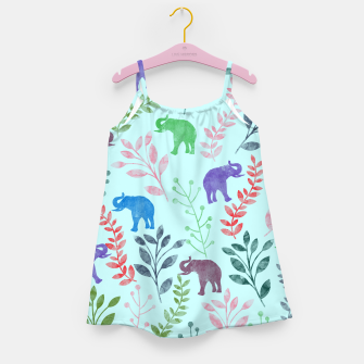 Miniature de image de Watercolor Flowers & Elephants II Girl's Dress, Live Heroes