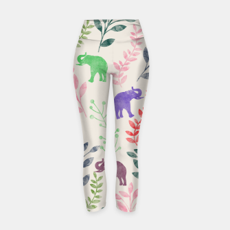 Miniature de image de Watercolor Flowers & Elephants Yoga Pants, Live Heroes