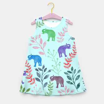 Miniature de image de Watercolor Flowers & Elephants II Girl's Summer Dress, Live Heroes